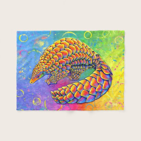 Psychedelic Rainbow Pangolin Fleece Blanket
