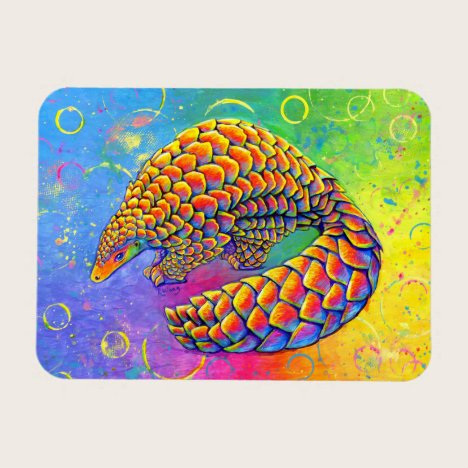 Psychedelic Rainbow Pangolin Flexible Magnet