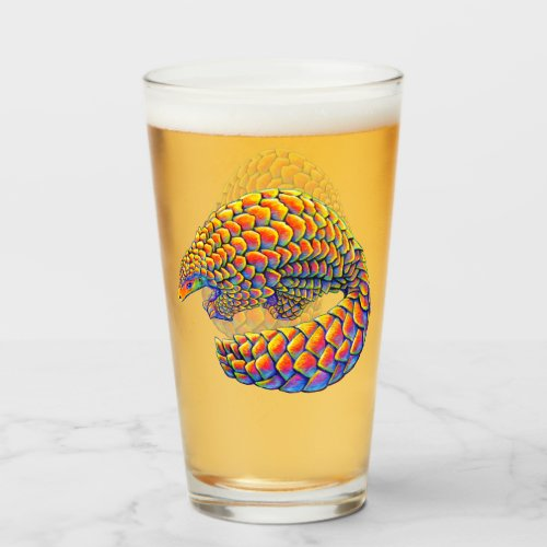 Psychedelic Rainbow Pangolin Glass Cup
