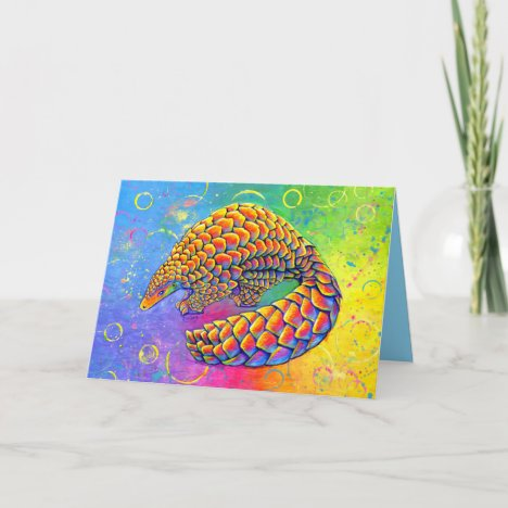 Psychedelic Rainbow Pangolin Greeting Card