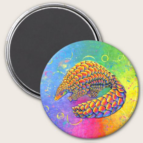 Psychedelic Rainbow Pangolin Magnet