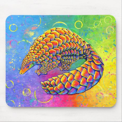 Psychedelic Rainbow Pangolin Mouse Pad