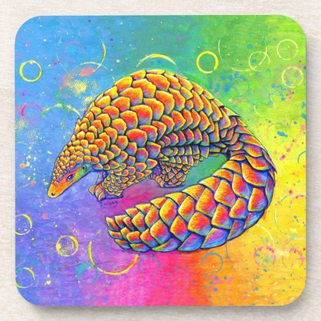 Psychedelic Rainbow Pangolin Plastic Coasters