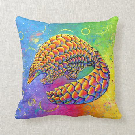 Psychedelic Rainbow Pangolin Scaly Anteater Pillow