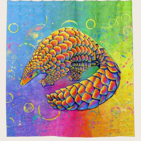 Psychedelic Rainbow Pangolin Shower Curtain