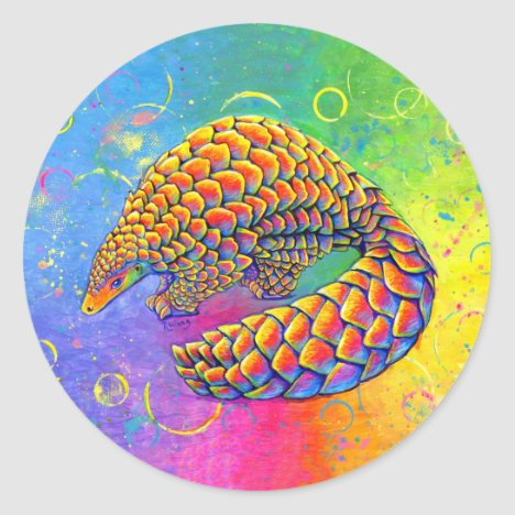 Psychedelic Rainbow Pangolin Stickers