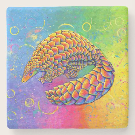 Psychedelic Rainbow Pangolin Stone Coaster