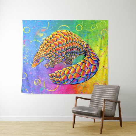 Psychedelic Rainbow Pangolin Tapestry