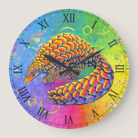 Psychedelic Rainbow Pangolin Wall Clock