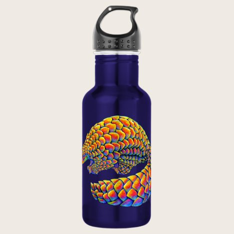 Psychedelic Rainbow Pangolin Water Bottle