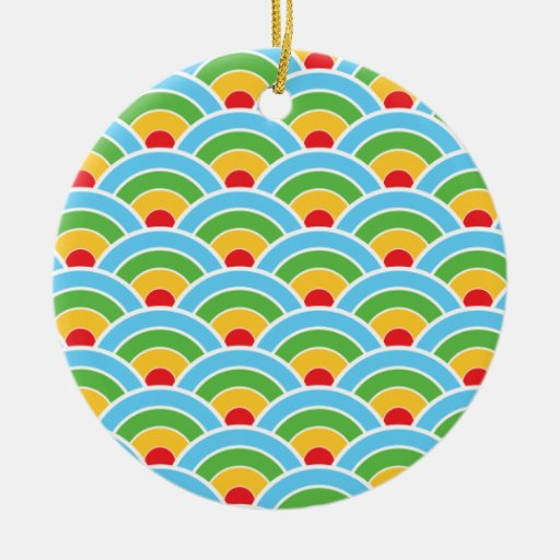 Psychedelic rainbow pattern ceramic ornament