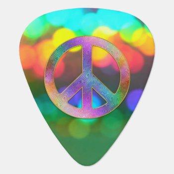 Psychedelic Rainbow Peace Music Guitar Pick by UROCKDezineZone at Zazzle