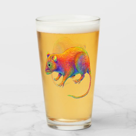 Psychedelic Rainbow Rat Glass Cup