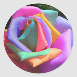Psychedelic Rainbow Rose Classic Round Sticker