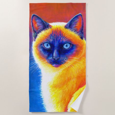 Psychedelic Rainbow Siamese Cat Beach Towel