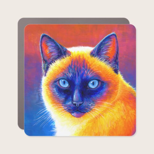 Psychedelic Rainbow Siamese Cat Car Magnet