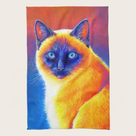 Psychedelic Rainbow Siamese Cat Kitchen Towel