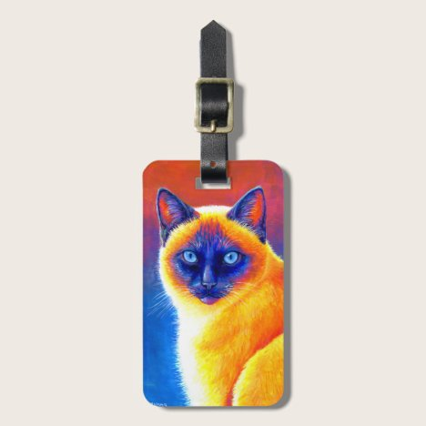 Psychedelic Rainbow Siamese Cat Luggage Tag