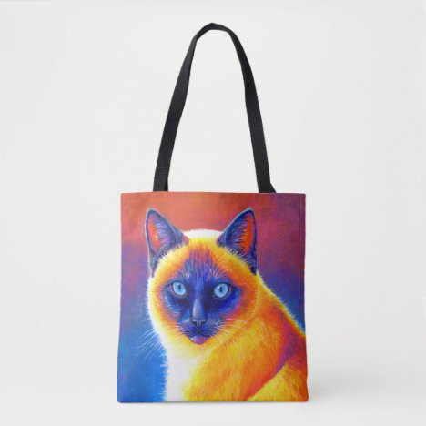 Psychedelic Rainbow Siamese Cat Tote Bag
