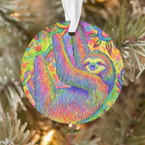 Psychedelic Rainbow Sloth Acrylic Ornament