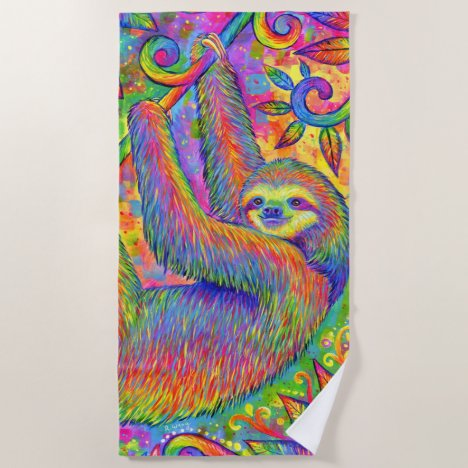 Psychedelic Rainbow Sloth Colorful Beach Towel