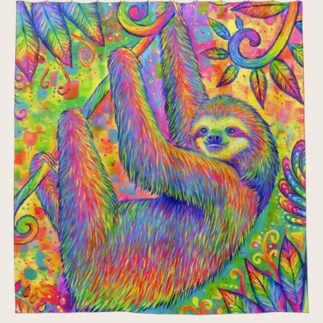 Psychedelic Rainbow Sloth Colorful Shower Curtain