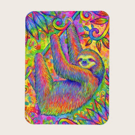 Psychedelic Rainbow Sloth Flexible Art Magnet