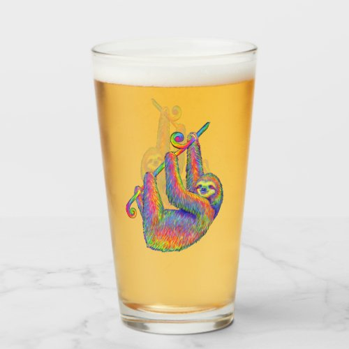 Psychedelic Rainbow Sloth Glass Cup