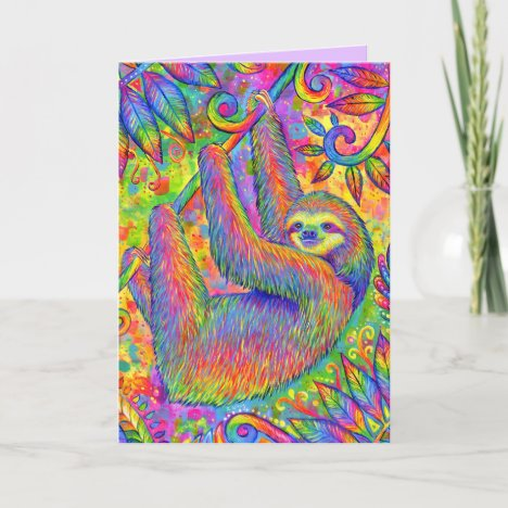 Psychedelic Rainbow Sloth Greeting Card