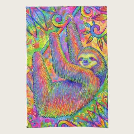 Psychedelic Rainbow Sloth Kitchen Towels