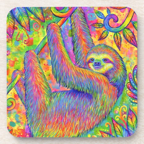 Psychedelic Rainbow Sloth Plastic Coasters
