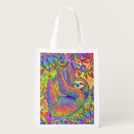 Psychedelic Rainbow Sloth Reusable Grocery Bag