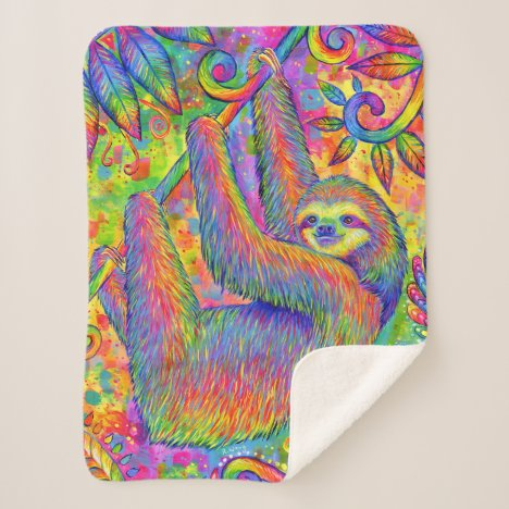 Psychedelic Rainbow Sloth Sherpa Blanket