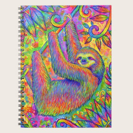 Psychedelic Rainbow Sloth Spiral Notebook