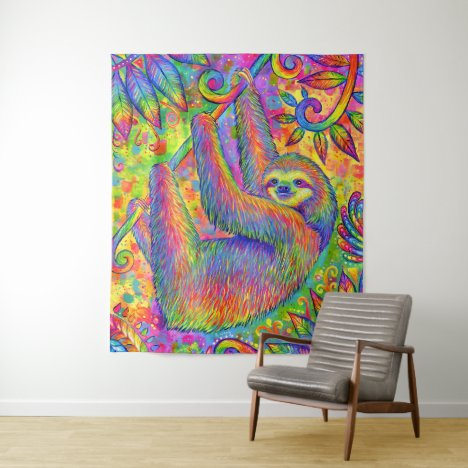 Psychedelic Rainbow Sloth Tapestry