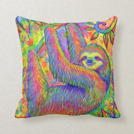 Psychedelic Rainbow Sloth Throw Pillow