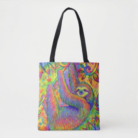 Psychedelic Rainbow Sloth Tote Bag