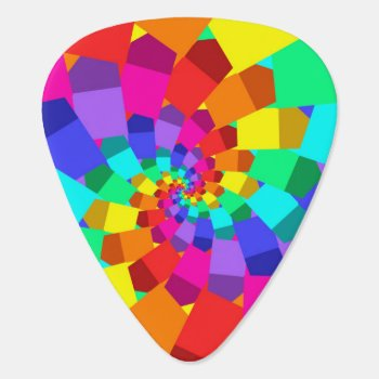Psychedelic Rainbow Spiral Guitar Pick by rainbows_only at Zazzle