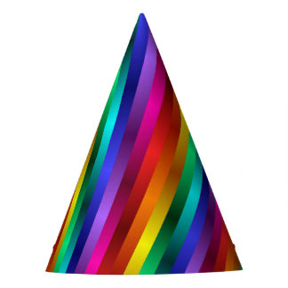 Psychedelic Rainbow Spiral Party Hat