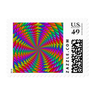 Psychedelic Rainbow Spiral Postage