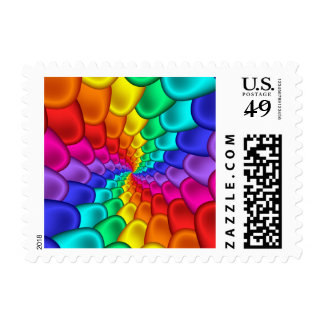 Psychedelic Rainbow Spiral Postage Stamps