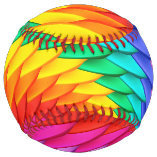 Psychedelic Rainbow Spiral Softball