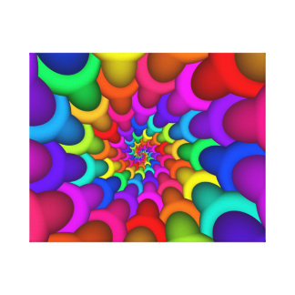 Psychedelic Rainbow Spiral Wrapped Canvas
