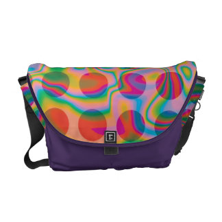 Psychedelic Rainbow Spots Pattern Courier Bag