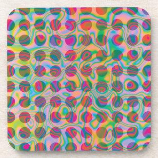 Psychedelic Rainbow Spots Pattern Drink Coaster
