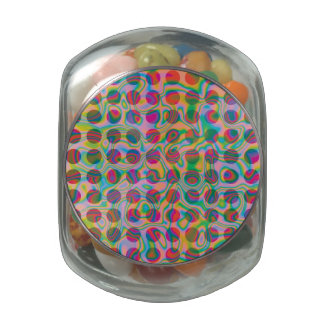 Psychedelic Rainbow Spots Pattern Jelly Belly Candy Jars