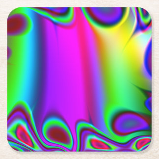 Psychedelic Rainbow Square Paper Coaster