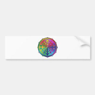 Psychedelic Rainbow Sri Yantra for Prosperity Bumper Sticker