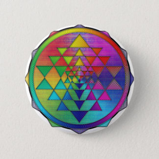 Psychedelic Rainbow Sri Yantra for Prosperity Button