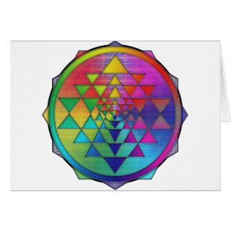 Psychedelic Rainbow Sri Yantra for Prosperity Card